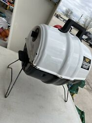 Keg A Que Keg Shaped Miller Mgd White Charcoal Grill Used Portable $49.00