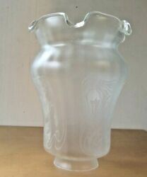 FLORAL ACID ETCHED SHADE GLOBE LAMP FIXTURE REPLACEMENT SHADE VIANNE FRANCE $30.50