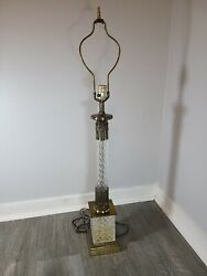 Hollywood Regency Vintage Crystal And Brass Table Lamp $99.00
