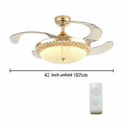 42#x27;#x27; Crystal Invisible Fan chandelier Ceiling Fan Light Remote Control Dimmable $139.00
