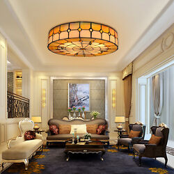 16quot;Stained Glass Ceiling Light Fixture Tiffany Colorfur Flush Mount Ceiling Lamp $98.02