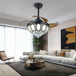 Ceiling Fan 36quot; Crystal Chandelier Led Light Remote Retractable Blades LED FAST $128.00