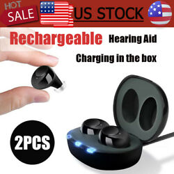 Digital Hearing Aids Rechargeable In Ear Severe Loss Invisible High Power Gift $56.99