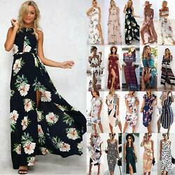 Women Boho Floral Sun Dresses Holiday Beach Summer Party Evening Long Maxi Dress $9.49