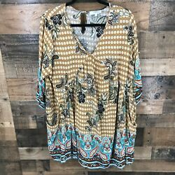 Umgee Plus Women#x27;s Brown Multi color Paisley Pocketed Boho Tunic Size XL $24.64