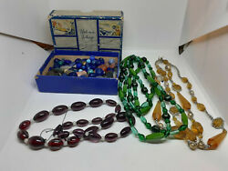 Lot of Vintage Glass amp; Stone Beads Loose amp; Necklaces $22.99