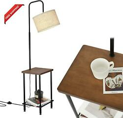 Elyona Wood Floor Lamp With Table Industrial Tall Pole Standing Lamp With Adju $118.97