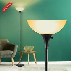 Floor Lamp For Living Room Floor Lamps With Brown Glass Shade 9W Led Bulb Incl $49.07