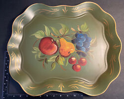 Vintage Tole Tray Nashco Hand Painted Green with Fruit $37.40
