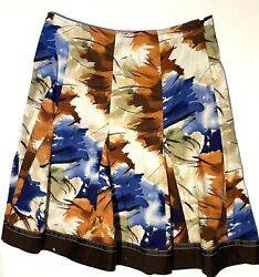 Amanda Lane Skirt Women#x27;s Size 12 Tan Blue Print Zip Side Embroidered NWOT $11.50