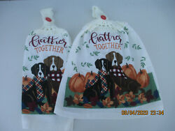 2 Hanging Kitchen Dish Towels W Crochet Tops Fall Gather Together Dogs Pumpkins $8.45