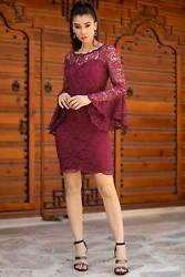 Lace Embroidered Maroon Dress $33.21