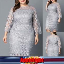 Plus Size Women Lace Midi Dress Ladies Evening Cocktail Clubwear Party Dress US $12.34