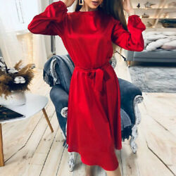 New Party Dresses Women Elegant Long Sleeve Round Neck Satin Holiday Shirt Dress $46.99