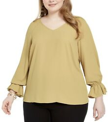Bar III Women's Trendy Plus Size Bell Cuff Top Sz 1X Color Saffron Yellow New $25.77
