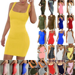 Womens Strappy Bodycon Mini Pencil Dress Ladies Party Ball Gown Short Dress Tops $11.99