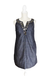 New York amp; Company Women#x27;s Blue Dress With Accented Collar Size S $11.99