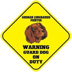 Crossing Sign German Longhaired Pointer Warning Guard Dog Duty Cross Xing Metal $17.99
