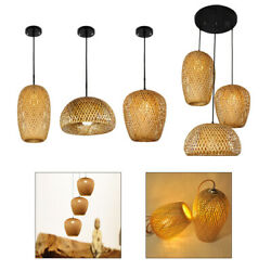 Bamboo Lamp Shades Weave Hanging Light Ceiling Lamp Chandelier Room Decor $28.24