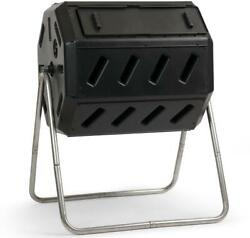 37 Gal. Dual Chamber Tumbling Composter Black Recycled Plastic Bin Steel Frame $111.99