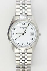Vintage Wittnauer Geneve Swiss KW8016 1705 White Dial Date Mens For Parts $149.95