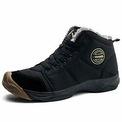 UPSOLO Mens Winter Trekking Snow Boots Water Resistant Shoes Black 2 Size $45.60