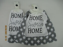 2 Hanging Kitchen Dish Towels With Crochet Tops Home Sweet Home $8.45