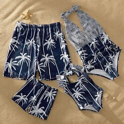 Striped Mosaic Coconut Tree Print Summer Family Casual Matching Halter Swimsuits $19.56