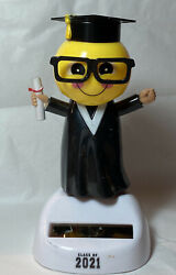 New Large Solar Powered Dancing Toy Bobble Head Graduation Smile Class Of 2021