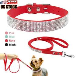 Bling Rhinestone Pet Dog Collars and Leads Leash for Small Medium Dog Puppy XS L $12.63