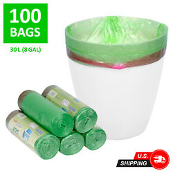 100 Count 8 Gal 30L Garbage Trash Bags for Office Home Kitchen Waste $14.59