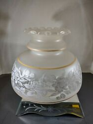 Frosted amp; Etched Lamp Shade Globe Fluted Ruffled TopOil Vintage White Gold NOS $59.00