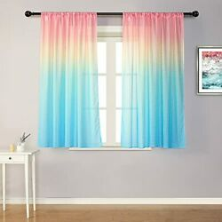 Rainbow Sheer Curtains for Bedroom Girls Pink Ombre Window Sheer Curtains $45.37
