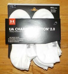 Under Armour Boys Socks 6 Pack Pair UA Charged Cotton 13.5 4 Youth No Show $6.99