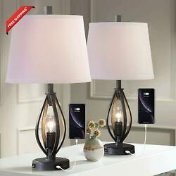 Modern Farmhouse Table Lamp Sets Of 2 With 2 Usb Ports Pulg In Industrial Nightl $186.76