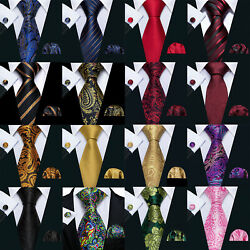 Classic Silk Mens Ties Red Navy Blue Black Gold Striped Floral Business Neckties $9.50
