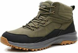 UPSOLO Mens Winter Trekking Snow Boots Water Resistant Army Green Size 11.0 $41.40