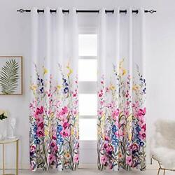 Kotile Floral Curtains for Bedroom Girls Thermal Insulated Grommet Print Fl... $55.20