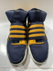 Adidas Bounce Commander Team Basketball Blue Yellow Mid Sneakers Shoes Mens 14 $89.00