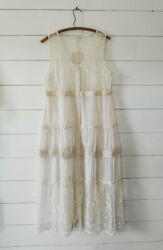Anthropologie Ivory Lace Long Duster Cardigan Top Blouse Maxi Plus XL 1X 2X New $58.00
