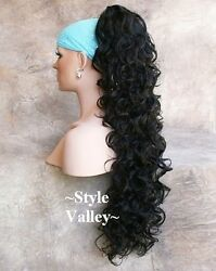 EXTRA EXTRA LONG Black Ponytail Hairpiece Clip in on Curly Extension Hair Piece $39.95