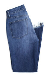 3x1 Womens High Rise Frayed Button Fly Hem Cropped Jeans Blue Cotton Size 23 $55.01