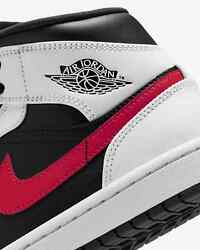 Air Jordan 1 Mid Chile Red Black White Grey Retro 554724 075 size 12 $98.00