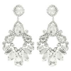 Extra Large Clear Crystal Chandelier Earrings Drag Queen Pageant $14.99