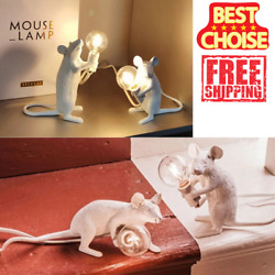 Postmodern Resin Animal Rat Mouse Table Lamp Small Mini Cute LED Night Home $14.88