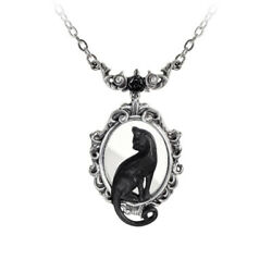 Alchemy England Gothic Black Cat Silhouette Mirror Pewter Necklace