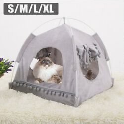 Cute Pets Dogs Cat Nest Tent House Puppy Cushion Warm Cute Sleeping Fluffy Beds $19.99