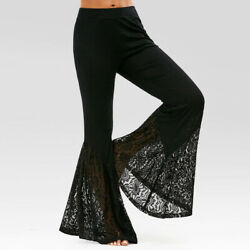 Womens Mesh Pant Slim Lace Pants Black Bell Bottoms Flared Long Trousers Fashion $20.69