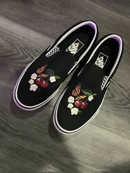 womens vans size 9 Embroidered Butterfly Floral Cherry Slip On $60.00