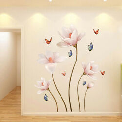 3D Lotus Flower Art Wall Sticker Room Home Background DIY PVC Removable Decal $7.57